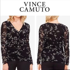 Black White Top VINCE CAMUTO Mesh Ruched NWT